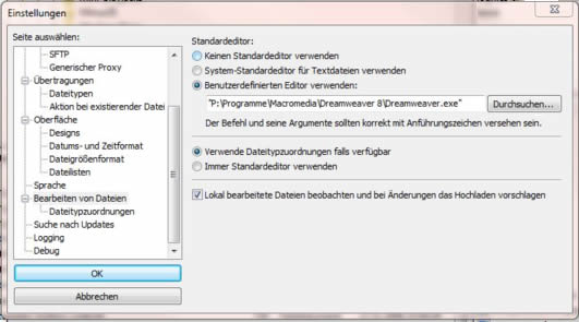 filezilla-einstellungen