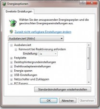 Windows 7 Energieoptionen