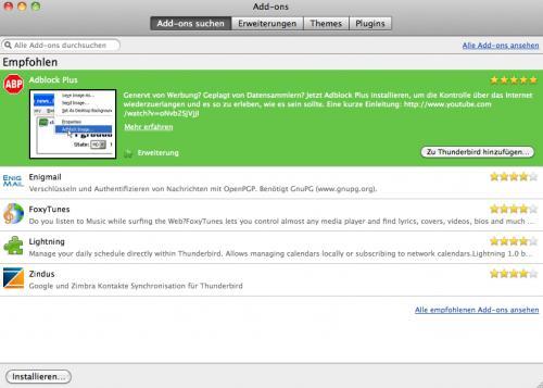 Screenshot Thunderbird Add ons