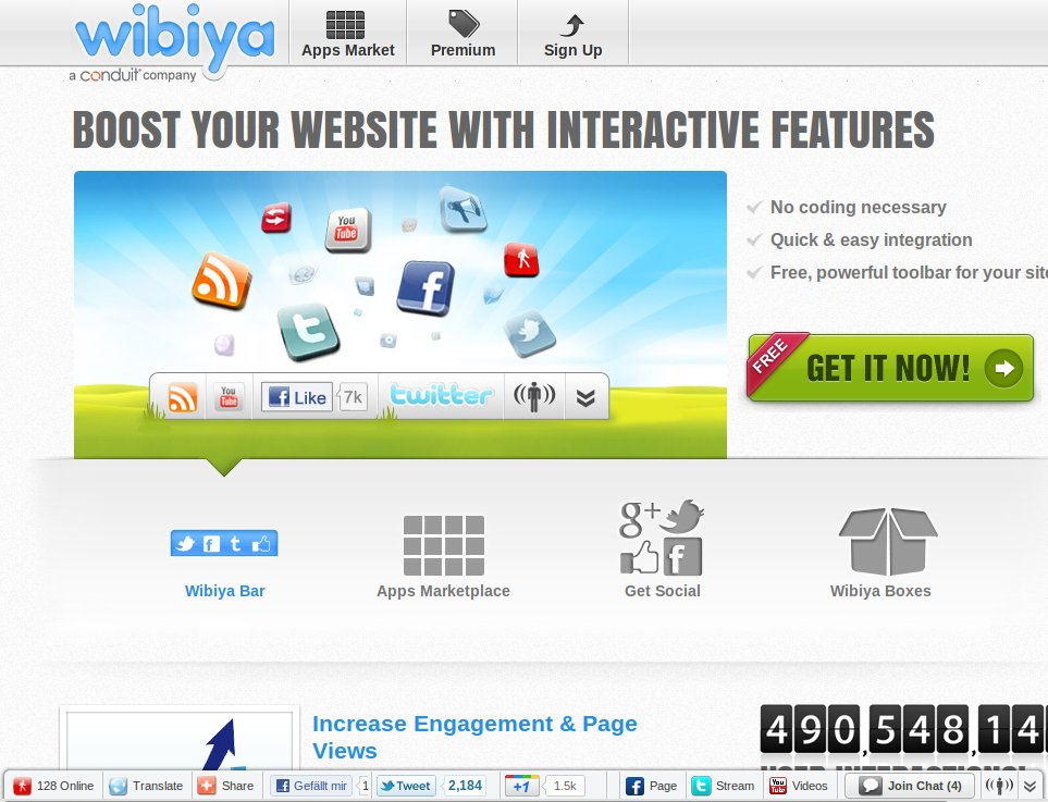 Wibiya Toolbar integriert soziale Netzwerke in Website